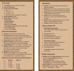 Glenn Drover's Empires: Age of Discovery – Player Reference Cards (3)