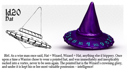 PolyHero Dice: 1d20 Wizard's Hat - Dragonfire