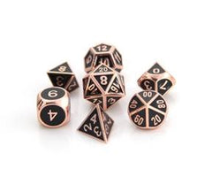 Metal Gothica Dice Set - Shiny Copper w/ Black (7)
