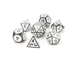 Metal Gothica Dice Set - Sinister White (7)
