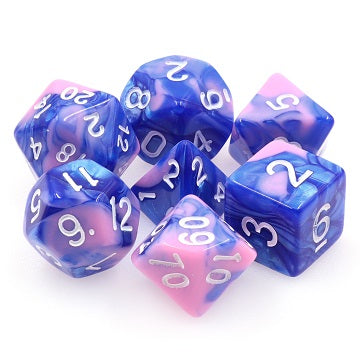 TMG RPG Dice Set - Fusion Blue/Pink Triton's Scales