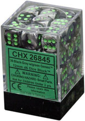 Chessex - 36D6 - Gemini - Black-Grey/Green