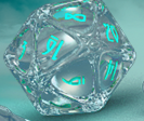 PolyHero Dice: 1d20 Orb Ethereal Ice
