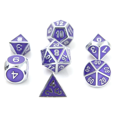 Metal Gemstone Dice Set - Silver Amethyst (7)