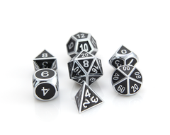 Metal Gothica Dice Set - Shiny Silver w/ Black (7)