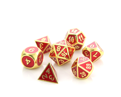 Metal Gemstone Dice Set - Gold Ruby (7)