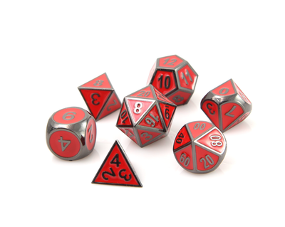 Metal Gothica Dice Set - Sinister Red (7)
