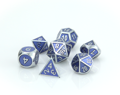 Metal Gemstone Dice Set - Silver Tanzanite (7)