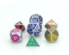Metal Gemstone Dice Set - SIlver Rainbow (7)