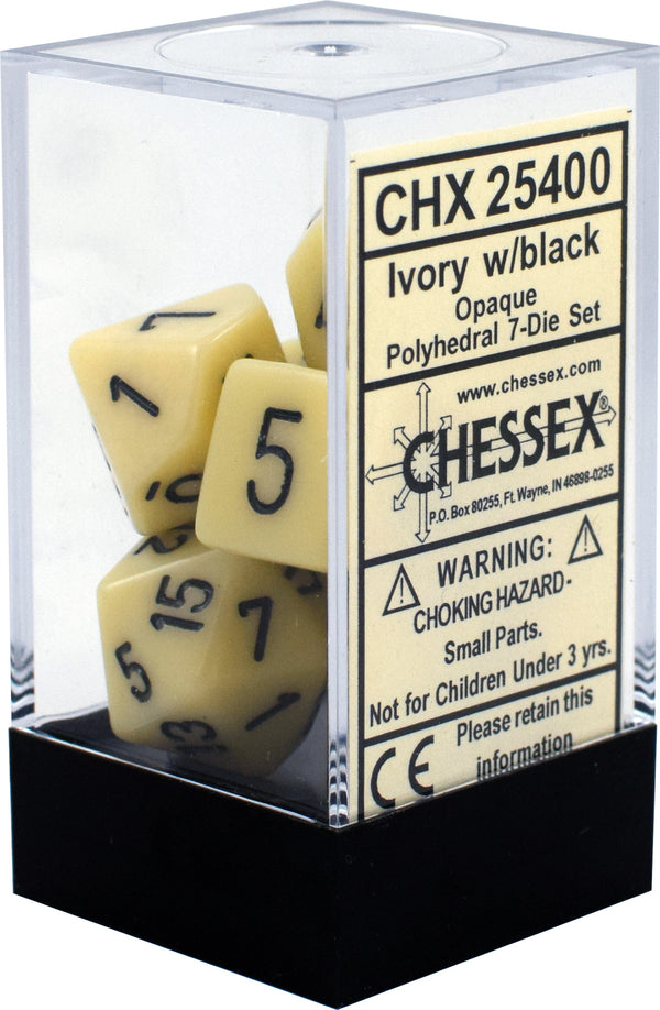 Chessex - 7 Piece - Opaque - IVORY/BLACK
