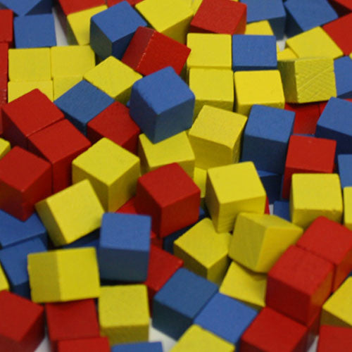 150-Piece Set of Mixed 8mm Cubes (Red, Yellow, and Blue)
