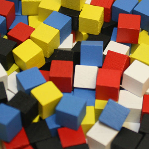 250-Piece Set of Mixed 8mm Cubes (Red, Yellow, Blue, Black, and White)