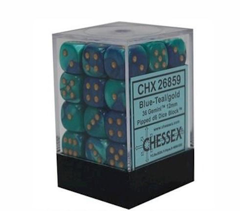Chessex - 36D6 - Gemini - Blue-Teal/Gold