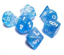 Chessex - 7-Dice Set - Borealis - Sky Blue/White