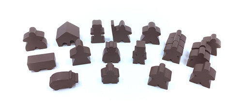 19-Piece Set of Brown Meeples (Compatible with Carcassonne & Expansions)