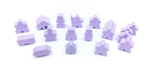 19-Piece Set of Lavender Meeples (Compatible with Carcassonne & Expansions)