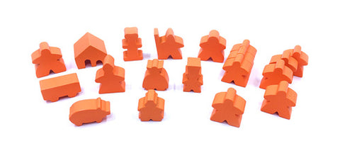 19-Piece Set of Orange Meeples (Compatible with Carcassonne & Expansions)