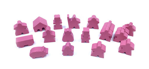 19-Piece Set of Pink Meeples (Compatible with Carcassonne & Expansions)