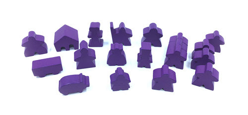 19-Piece Set of Purple Meeples (Compatible with Carcassonne & Expansions)