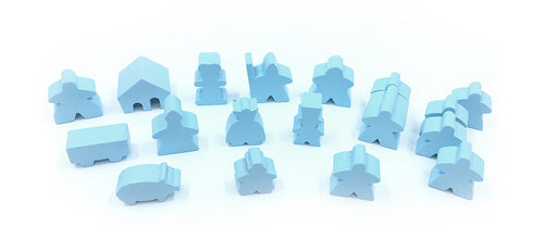 19-Piece Set of Sky Blue Meeples (Compatible with Carcassonne & Expansions)
