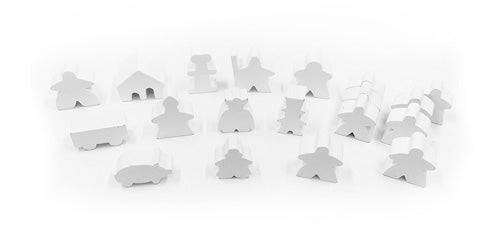 19-Piece Set of White Meeples (Compatible with Carcassonne & Expansions)