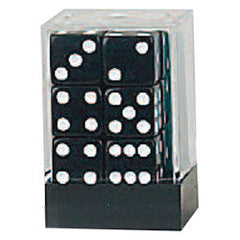 D6 Opaque Dice: 12pc 16mm (Black/White)
