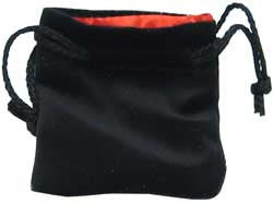 Dice Bag - Velvet Black/Red (3'' X 5'')