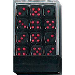 DLX Opaque Dice: 36pc 12mm (Black/Red)