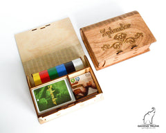 Gaming Trunk - Splendid Box for Sleeved Cards, for Splendor plus Nobles Promo Tiles Case (Walnut)