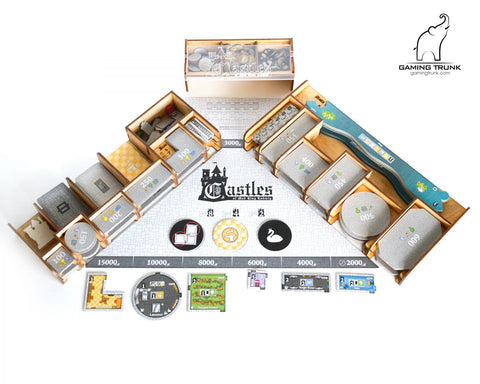 Gaming Trunk - Mad King Organizer for Castles of Mad King Ludwig (Walnut)