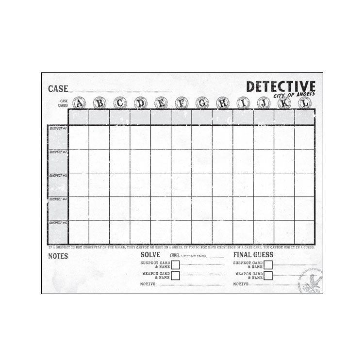 Detective: City of Angels – Investigation Sheets