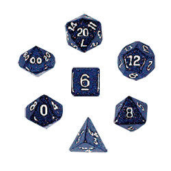 Dice Set - Glitter Polyhedral 7pc - Blue