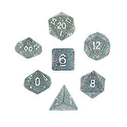 Dice Set - Glitter Polyhedral 7pc - Clear
