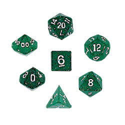 Dice Set - Glitter Polyhedral 7pc - Green