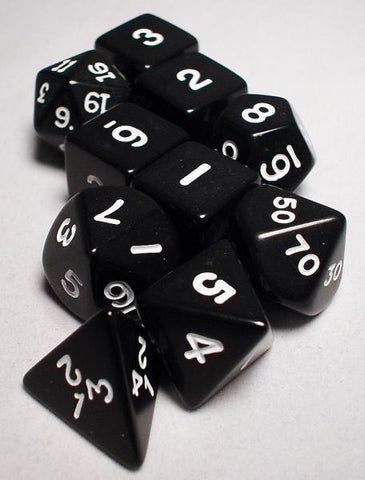 Dice Set - Opaque Polyhedral 10pc - Black