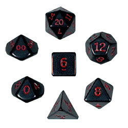 Dice Set - Opaque Polyhedral 7pc - Black/Red