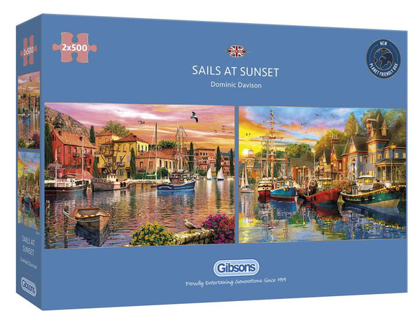 Puzzle - Gibsons - Sails at Sunset: 2 Puzzles (500 Pieces)
