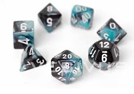 Chessex - 7-Dice Set - Gemini - Black-Shell/White