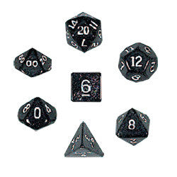 Dice Set - Glitter Polyhedral 7pc - Black