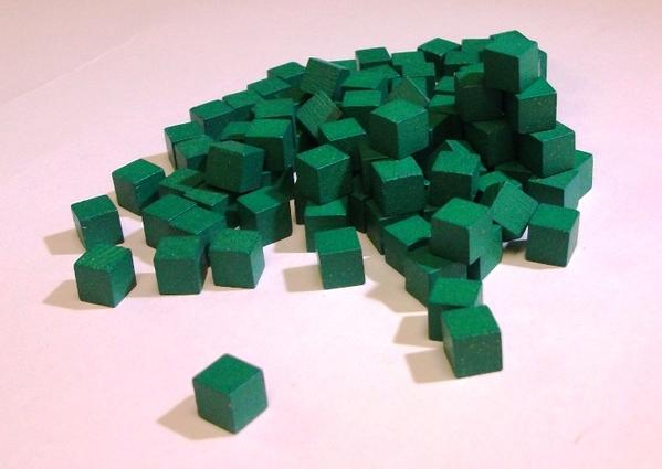 Mayday - Wood Cubes 10mm - Green (100ct)