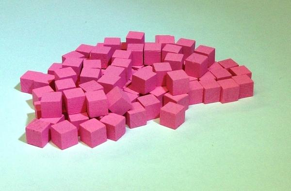 Mayday - Wood Cubes 10mm - Pink (100ct)