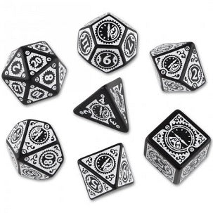 Dice Set - Steampunk Clock Work - Black/White (7)