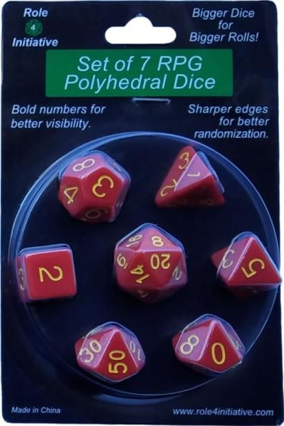 Role 4 Initiative Polyhedral 7 Dice Set: Opaque Red with Gold Numbers