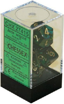 Chessex - 7-Dice Set - Scarab - Jade/Gold