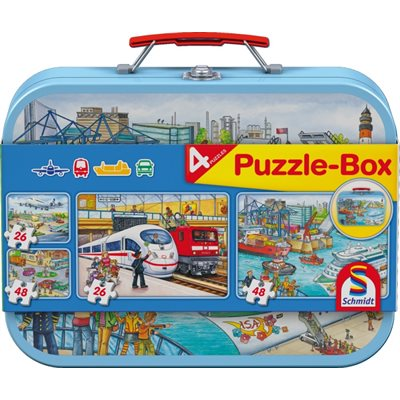 Puzzle - Schmidt Spiele - Vehicles Tin (2x26 Pieces, 2x48 Pieces)