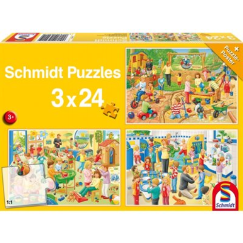 Puzzle - Schmidt Spiele - A Day at Playschool (3x24 Pieces)