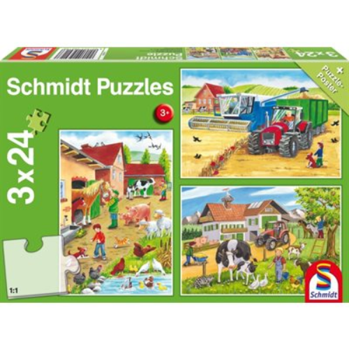 Puzzle - Schmidt Spiele - On the Farm (3x24 Pieces)