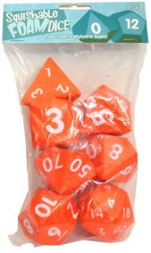 "Squishy Dice - 7-Dice Set - Orange (2"")"