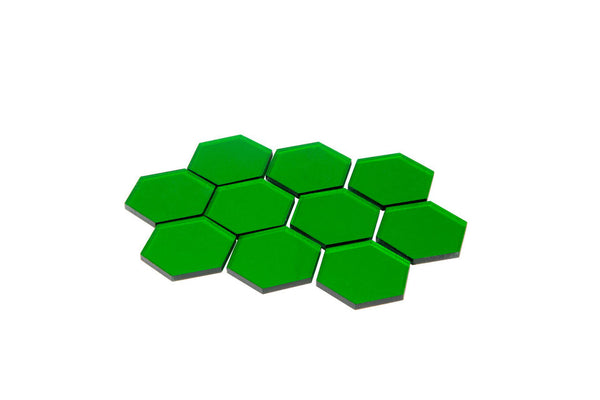 Broken Token - Transparent Green 34mm Hex Tiles (10)