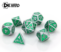 Metal Gemstone Dice Set - Silver Emerald (7)